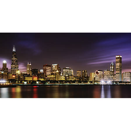 Biggies wall mural 40 x 80 chicago skyline by office depot for Chicago skyline wall mural