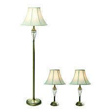 Elegant Designs FloorTable Lamps White ShadeAntique