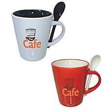 Ceramic Cocoa Spoon Mug 14 Oz