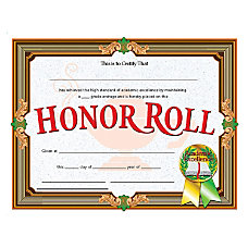 Flipside Honor Roll Certificate 11 x