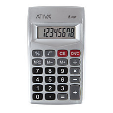 Ativa 8 Digit Handheld Calculator Silver