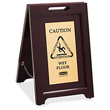 Rubbermaid Commercial Brass Plaque Wooden Caution