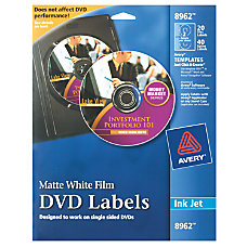 Avery Matte White Inkjet DVD Labels