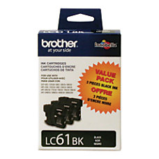 Brother LC61BK Black Ink Cartridges Pack
