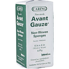 Caring Nonsterile 4 ply Nonwoven Gauze