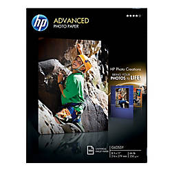 """HP Advanced Photo Paper, 8 1/2"""" x 11"""", 10.5 Mil, Pack Of 100 Sheets"""