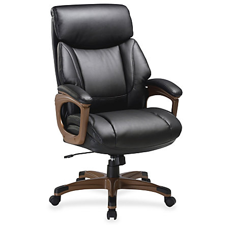 Lorell Executive Chair Black Walnut Bonded Leather 31 8 Width X 28 Depth X 45