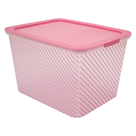 advantus fashion iml plastic storage box 10 14 h x 13 w x 16 d pink stripe by office depot. Black Bedroom Furniture Sets. Home Design Ideas