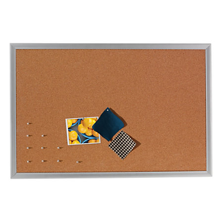 foray cork bulletin board aluminum frame
