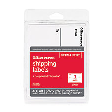 Office Depot Brand White ToFrom Shipping
