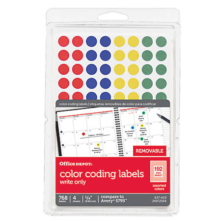 office depot brand removable round color coding labels 14 With kitchen cabinets lowes with color coding dot stickers