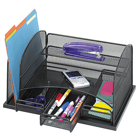 safco 3 drawer desktop organizer 16 h x 11 38 w x 8 d black by office depot officemax. Black Bedroom Furniture Sets. Home Design Ideas