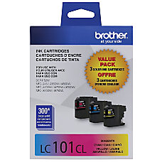 Brother LC101 3PKS CyanMagentaYellow Ink Cartridges