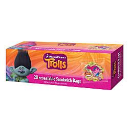 Dreamworks Trolls Resealable Sandwich Bags 6