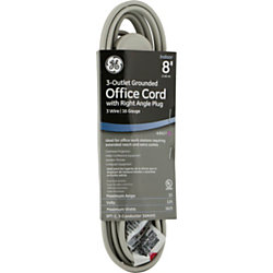ge 3 outlet office extension cord 8 39 gray. Black Bedroom Furniture Sets. Home Design Ideas