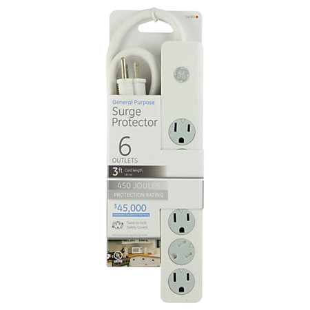 ge 6 outlet surge protector 3 cord white by office depot officemax. Black Bedroom Furniture Sets. Home Design Ideas
