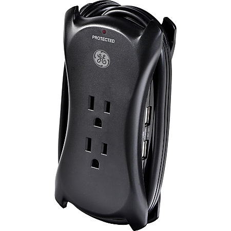 ge 3 outlet2 usb surge protector 1 cord black by office depot officemax. Black Bedroom Furniture Sets. Home Design Ideas
