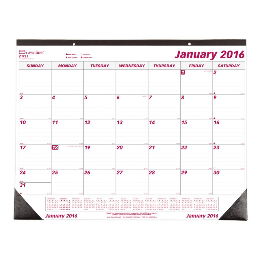 brownline monthly desk pad calendar 22 x 17 january december 2016