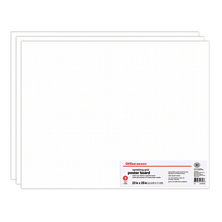 Office Depot Brand Grid Board Poster Boards 22 x 28 White ...