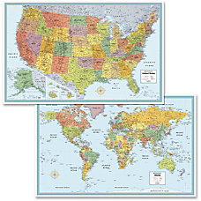 Advantus Deluxe USA World Wall Map
