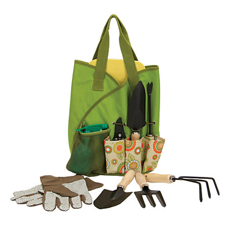 Orbit 10 piece garden tote set by office depot officemax for Small garden tool carrier