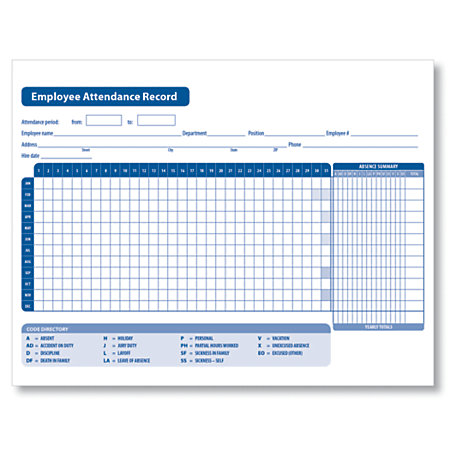 Attendance Forms at Office Depot OfficeMax – Attendance Sheet for Employees