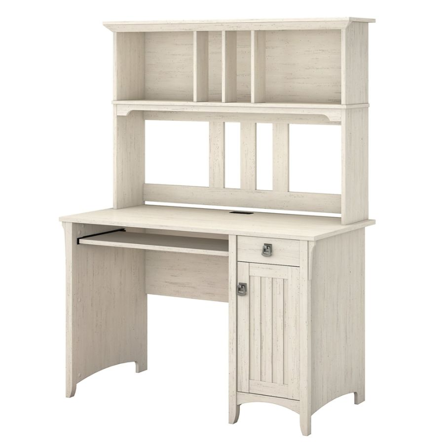 bush furniture salinas mission desk with hutch antique white standard delivery by office depot u0026 officemax - Bush Furniture