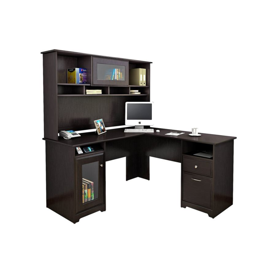 bush furniture cabot l shaped desk with hutch espresso oak