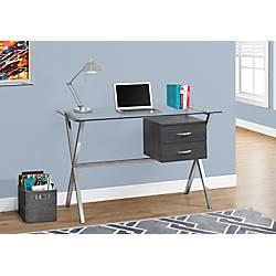 Monarch Specialties Glass Computer Desk GrayChrome