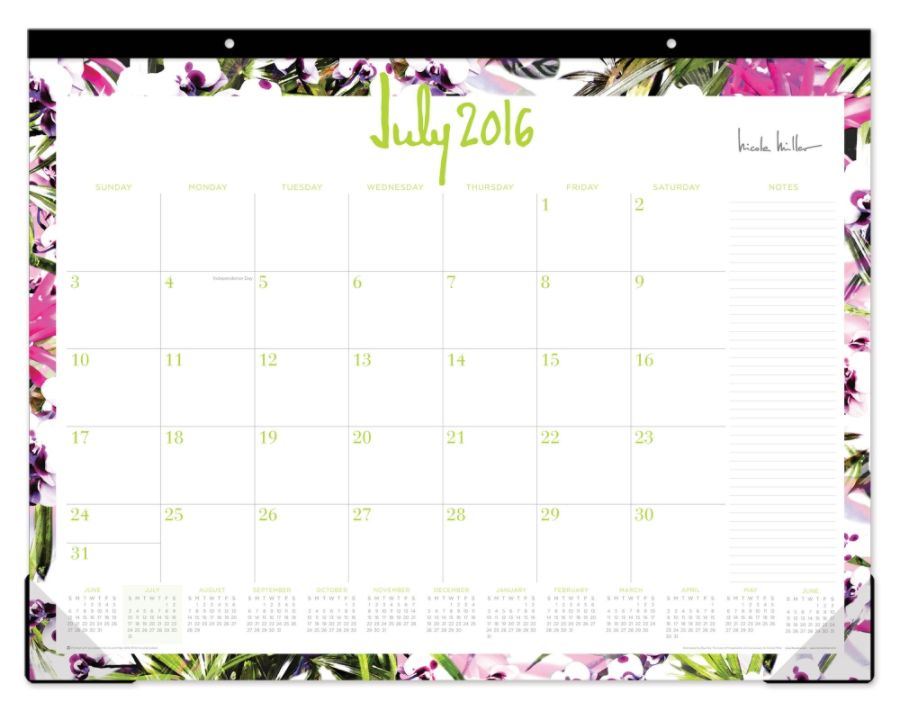 nicole miller monthly desk pad calendar 22 x 17 rio july 2016 to