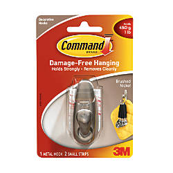3M™ Command™ Decorative Hook, Forever Classic, Small, Brushed Nickel