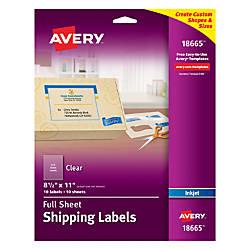 Avery Easy Peel Clear Inkjet Return
