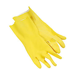 Yellow Flock Lined Gloves Large