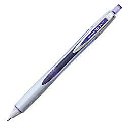uni-ball® Vision™ Liquid Ink Retractable Rollerball Pens, 0.8 mm, Bold Point, Silver Barrels, Purple Ink, Pack Of 12