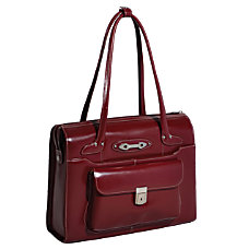 McKlein Leather Briefcase Wenonah Red