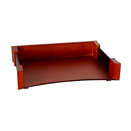 rolodex wood faux leather letter tray mahogany by office With faux leather letter tray