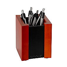 Rolodex Wood Faux Leather Pencil Cup