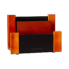 Rolodex Wood Faux Leather Sorter Mahogany