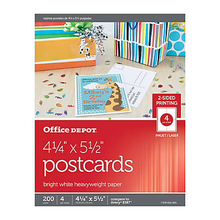 Office Depot Brand InkjetLaser Post Cards   X   Bright White - Office depot window decals template
