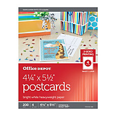 Office Depot Brand InkjetLaser Post Cards