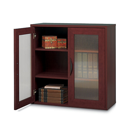 Safco apres 2 door cabinet 30 h mahogany by office depot for Home depot office doors