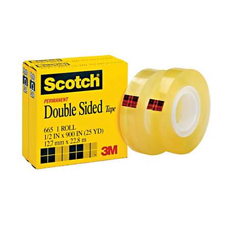 scotch 665 permanent double sided tape 12 x 900 pack of 2 by office depot officemax. Black Bedroom Furniture Sets. Home Design Ideas