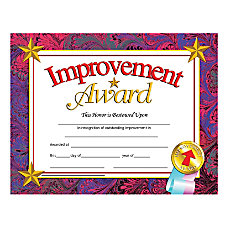 Hayes Publishing Certificates Improvement Award 8
