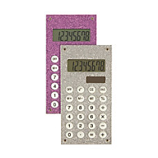 Ativa Handheld Calculator Assorted Glitter Colors