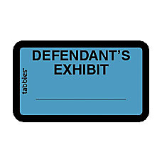 Tabbies Defendants Exhibit Legal File Labels