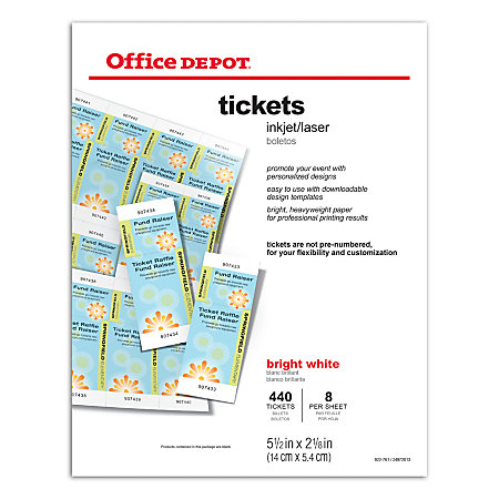 office depot raffle ticket template office depot brand inkjetlaser tickets 5 12 x 2 18 bright