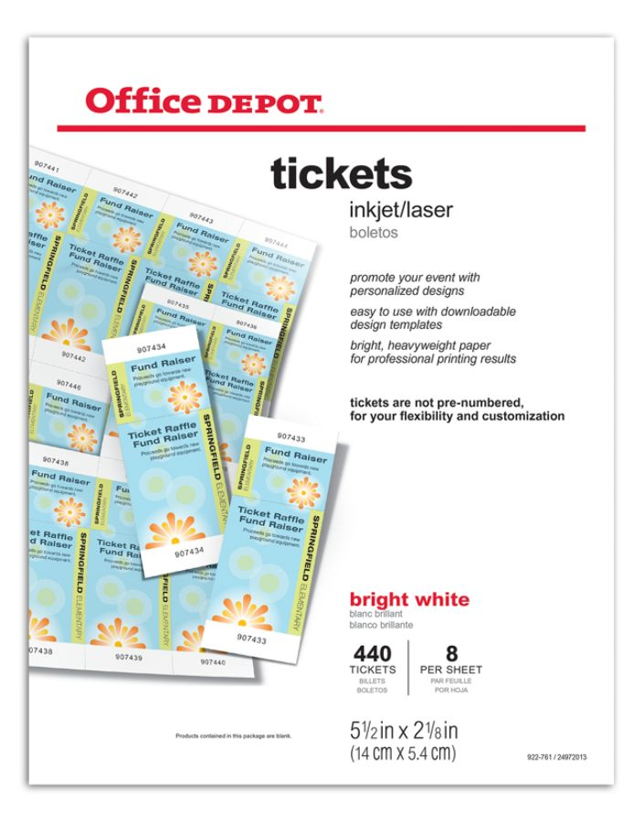 Office Depot Brand InkjetLaser Tickets 5 12 X 2 18 Bright White Pack Of 440  By Office Depot U0026 OfficeMax
