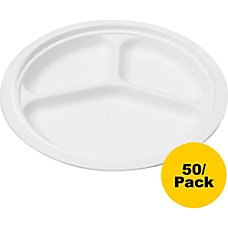 NatureHouse Bagasse 10 Three Compartment Plates