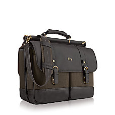 Solo Bradford 156 Laptop Briefcase BrownOlive
