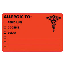 Tabbies ALLERGIC TO Medical Allergy Labels